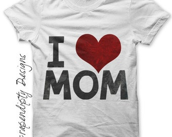Iron on Mom Shirt PDF - Daughter Iron on Transfer / Kids Girls Clothing Tops / Mothers Day Shirt / Toddler Son Clothes / Love Mom Tee IT184