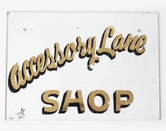 Vintage Sign, Accessory Lane Shop, Reverse Painted Glass