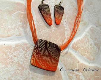 Set pendant and earrings ethnic degraded polymer clay Brown and orange screen printed gold made entirely by hand