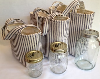 Zero Waste Custom 2 Jar Lunch Bag, Jars to Go ticking stripe mason jar lunch tote bag carrier