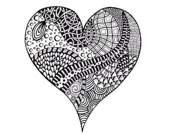 Abstract Heart Print, Valentine's Day Zentangle Inspired Printable Art, Ink Drawing Zendoodle