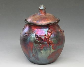 Raku Urn or Lidded Pot with Doves