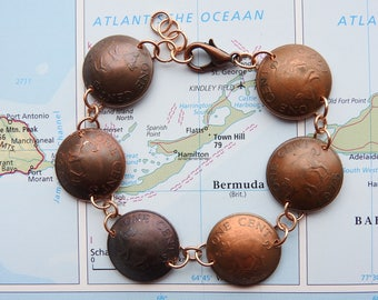 Bermuda pig coin bracelet -curved - made of original coins - piglet - animal jewelry