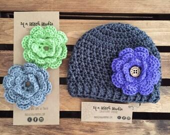 Dark Grey Interchangeable Flower Hat // Changeable Flower Crochet Knit Hat // Beanie or Newsboy or Trapper