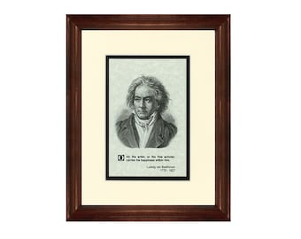 Print and Quotation of Ludwig von Beethoven with Mat and Frame