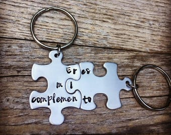 Puzzle Piece Key chains, Anniversary Gift, Couple Key Chains, Birthday Gifts, BFF, boyfriend Present, Couple Jewelry, Best Friend, Bilingual