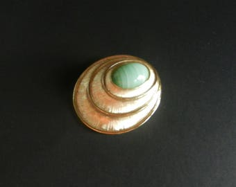 Vintage Sarah Coventry Brooch Pendant Green Stone Designer Jewelry