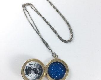 Secret Sky - hand painted locket necklace