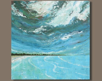 FREE SHIP Seascape Painting, Abstract Ocean Painting, Bedroom Decor, Water, Turquoise Blue Beach Painting, Ready to Hang Wall Hanging, 30x30