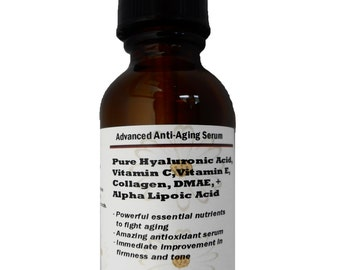 Advanced Anti-Aging Serum with Pure Hyaluronic Acid, Vitamin C, Vitamin E, Collagen, DMAE, Alpha Lipoic Acid