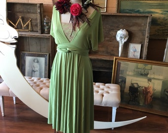 Greenery Fern Satin- Infinity Convertible Wrap Short Dress with full circle skirt- Bridesmaids, plus size, maternity, birthstone, peridot