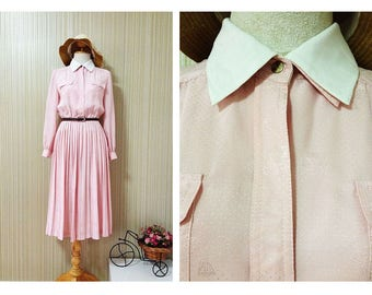 Beautiful 1940s Pink Japanese Vintage Wedding Evening Day Work Pleated Dress M