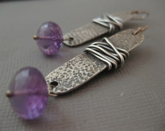 Long Rectangle Sterling Silver Earrings with Amethyst by Strawberry Frog