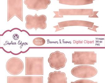 Rose Gold Banners & Frames Digital Labels, PNG, Instant Download