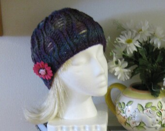Riverbed Lace Midnight Aura Hand Knit Cap with Removable Flower Pin