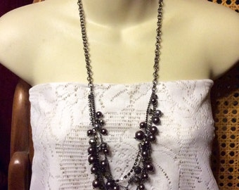 Vintage multi strand coffee colored beads rhinestones chain necklace.