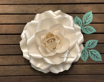 LARGE ROSE Flowers Template & VIDEO tutorial/Paper flower pattern/pdf svg paper flower/diy paper flower/diy flower backdrop/Paper flower wal