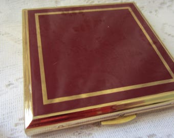 Bright Red Enamel Stratton Compact Vintage In Square Design