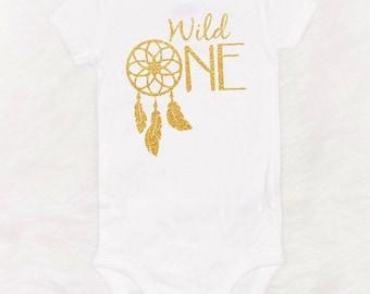 wild one first birthday shirt baby girl first birthday shirt tribal first birthday shirt first birthday bodysuit gold glitter bodysuit one