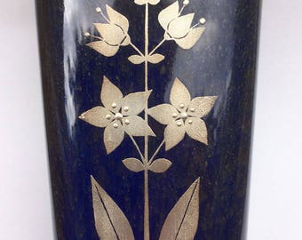 Gustavsberg Sweden Lagun Vase with Silver Metal Floral Appliqué by Sven Jonson