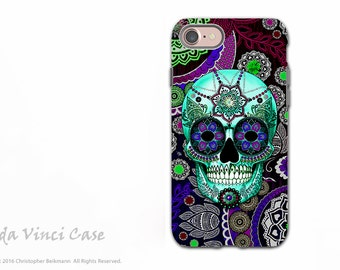 Purple Paisley Sugar Skull iPhone 7 / 8 Tough Case - Dia De Los Muertos Dual Layer Case for Apple iPhone 7 - Sugar Skull Sombrero Night