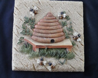 Resin Tile 3D Bee Hive and Bees Kitchen Decor, Wall Decor,Trivet  Bee Collector  861