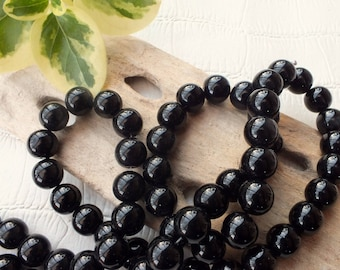 Set of 10 glass beads 12mm black mother of Pearl