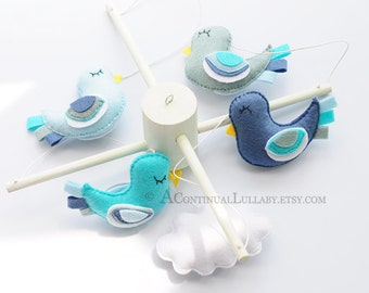 Fancy Birds Baby Mobile, Cloud and Birds, Baby Boy Mobile, Baby Girl Mobile, Cloud Mobile