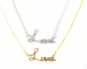 Love necklace. Love word necklace. Gold love necklace. Word love necklace Love necklace Europe Bridesmaids gift bridal shower gift love gift