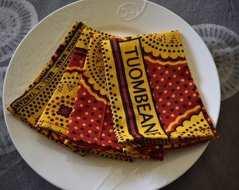 4 Kanga cloth napkins