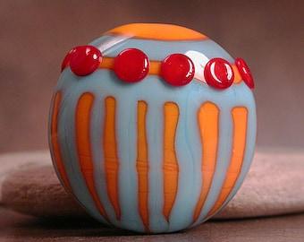Artisan Glass Lampwork Focal Bead, Turquoise Blue & Orange, Divine Spark Designs, SRA