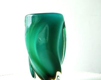 Mod vintage 60s teal-aqua color , murano art glass,sculptured, vertical vase.