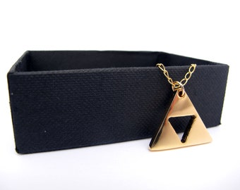 Zelda Triforce Necklace - Gold plated brass with Gold Filled chain