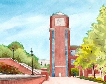 UNC Charlotte Clock Tower Original Watercolor University of North Carolina Charlotte SFA watercolour college art original university art UNC
