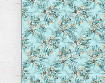 Kids Quilt Australian Eucalyptus Wholecloth Cotton Sateen. Duck Egg Blue and Peach Flowering Gum Blossoms || STYLE 1 || Ships 6 wks