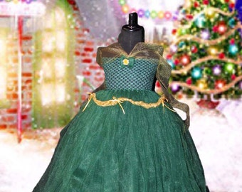 Hunter and Gold Bustle Dress