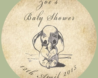 35 Personalised Vintage Baby Shower Dumbo 37mm Round Stickers labels Party