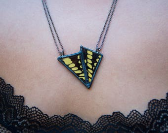 Double Swallowtail Butterfly Wing Necklace