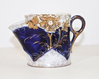 Antique Shaving Scuttle Cobalt Embossed Mug with floral and Gold design