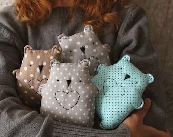 4 colors Baby soft toy primitive safe stuffed bear 5' baby shower gift nursery decor teddy bear grey white polka dot