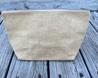 Large Burlap Cosmetic Bag
