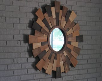 FREE SHIPPING!Wood wall art- dimensional wood wall art- sunburst wood mirror- modern wood wall art- home decor
