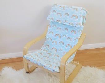 Chair cover slip/ikea poang chair/ kids rainbow decor/girls bedroom/modern nursery/blue chair cover for birthday Christmas baptism keepsake