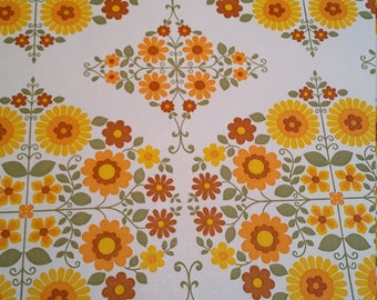 Orange, yellow, red and green floral daisy retro vintage 1960's wallpaper