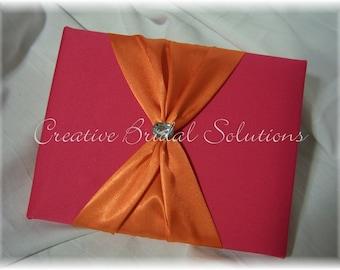 Fuchsia Pink and Orange Wedding Guest Book, Orange Pink Wedding Book, Orange Wedding Guest Books