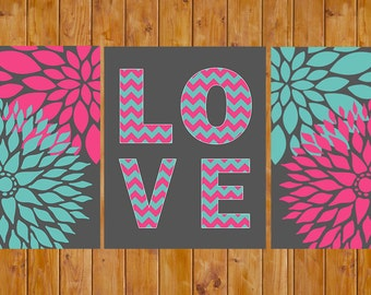 Floral Flower Teen Girl's Pink Teal Chevron Love Room Baby Nursery Decor Wall Art DIY Printable 8x10 JPG files Instant Download (108)