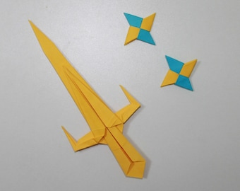 Ninja Sword & 2 Ninja Star - Origami - Sai and Shuriken