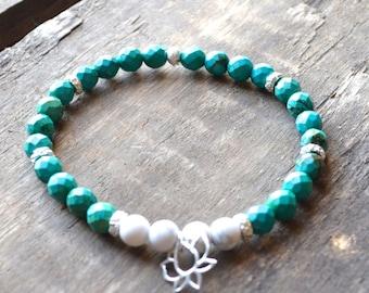 Friendship - Stress Release - Lotus Flower Bracelet - Lotus Jewelry - Turquoise Bracelet - Yoga Bracelet - Yoga Jewelry - Energy Bracelet -