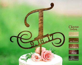 t cake topper, cake toppers for wedding, date cake topper, wedding topper, initial cake topper, cake topper t, cake topper gold, CT#153