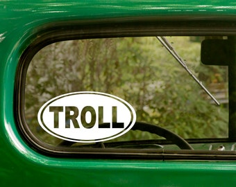 Oval Troll Decal, Troll Sticker, Car Decal, Decal, Laptop Sticker, Oval Sticker, Bumper, Vinyl Decal, Car Sticker